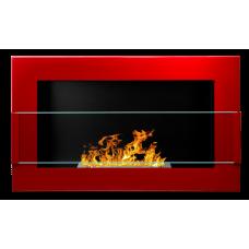 Биокамин Globmetal 650x400 Красный глянец со стеклом