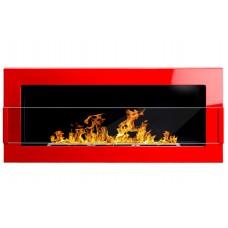 Биокамин Globmetal 900x400 Красный глянец со стеклом