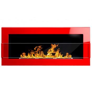 Настенный биокамин Globmetal 900x400 Красный глянец со стеклом