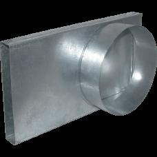 Переходник канал - труба 90* 100Ø для подачи воздуха в топку