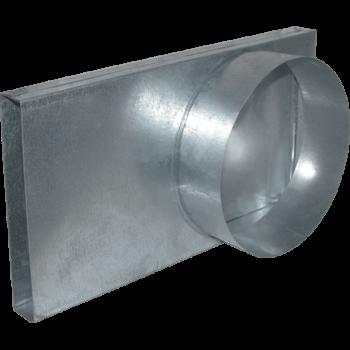 Переходник канал - труба 90* 125Ø для подачи воздуха в топку