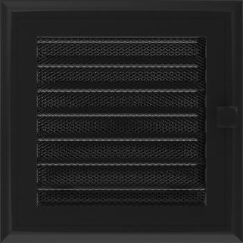 Вентиляционная решетка Kratki 17x17 см Oskar черная с жалюзи
