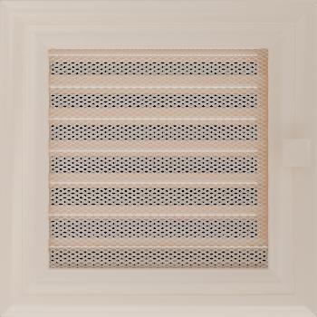 Вентиляционная решетка Kratki 17x17 см Oskar кремовая с жалюзи