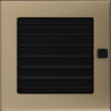 Вентиляционная решетка Kratki 17x17 см Золото гальванизированное с жалюзи