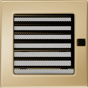 Вентиляционная решетка Kratki 17x17 см Золото с жалюзи